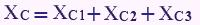 فرمول محاسبه راکتانس خازن معادل در سری بستن خازنها