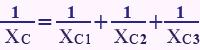 فرمول محاسبه راکتانس خازن معادل در موازی بستن خازنها