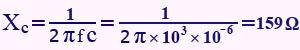 مثال برای فرمول محاسبه راکتانس خازنی